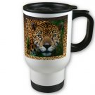 Leopard Cat Travel Coffee Mug Cup White Aluminum