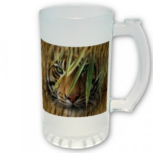 Tiger Frosted Glass 16 oz Mug or Beer Stein  Hot or Cold