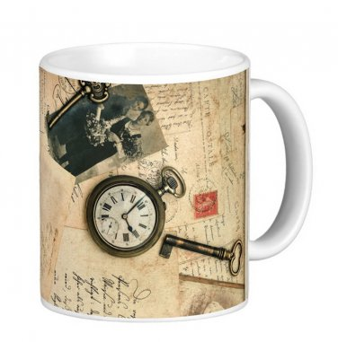 Vintage Antique Letters, Photos Gift Coffee Mug Cup