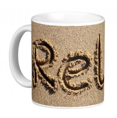 RELAX written in the Beach Sand Photo Gift Coffee Mug Cup