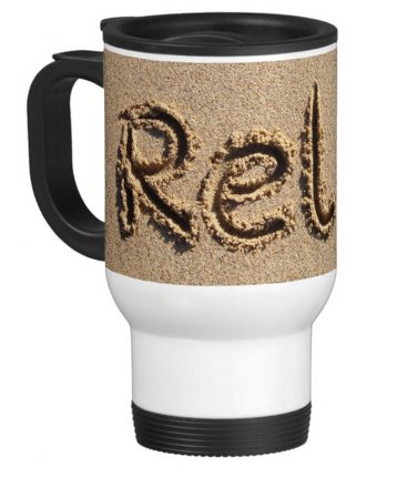 Relax in the Beach Sand Travel Coffee Mug Cup White Aluminum