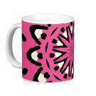Pink and Black Abstract kaleidoscope Coffee Mug Cup