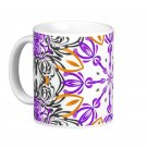 Orange, Purple, Black Abstract kaleidoscope Coffee Mug Cup