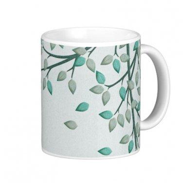 Green Leaves Design Coffee Mug Cup