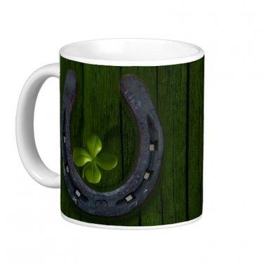 Lucky Horseshoe 4 leaf Clover Design Coffee Mug Cup