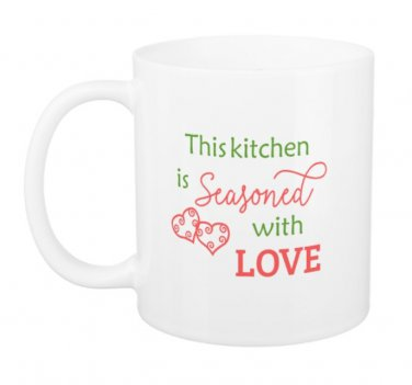 Inspirational Kitchen Seasoned with Love Design Coffee Mug Cup