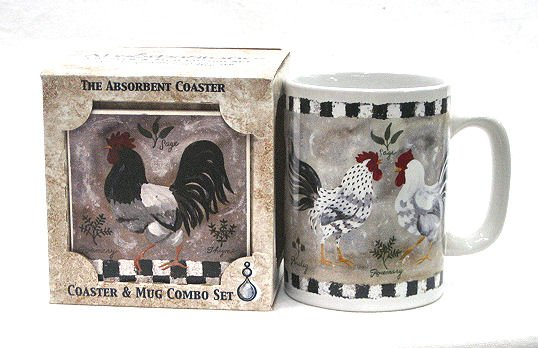 French Country Roosters Mug & Coaster