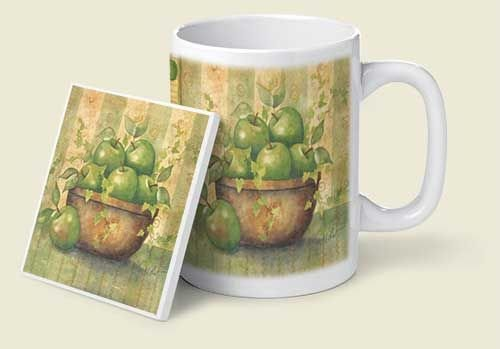 Green Apples Mug & Coaster