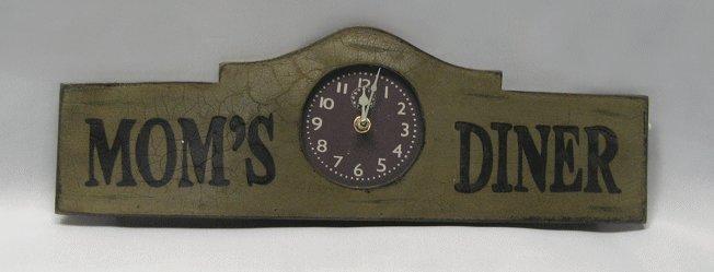 Mom's Diner Wooden Wall Clock
