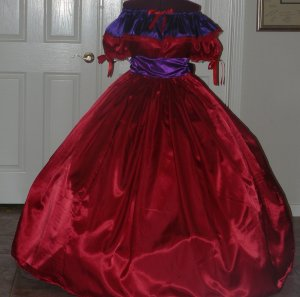 Civil War Ball Gown Reenacting Dickens Victorian Dress Wide Ruffle Neckline, Other Colors Available
