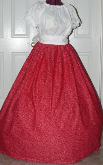 Civil War Reenactment Costume Cotton Long SKIRT Most Colors Pioneer Colonial Victorian Renaissance