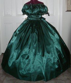 Civil War Ball Gown Reenacting Dickens Victorian Dress Custom Colors Beaded Trim