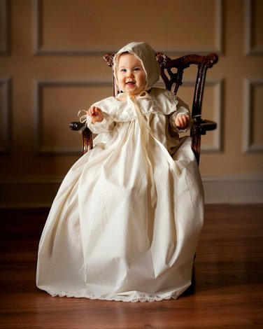 Custom Christening Baby Infant Baptism Gown Bonnet Hat Cotton Satin Style 1