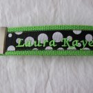 Lime w/Black with white polka dots key fob