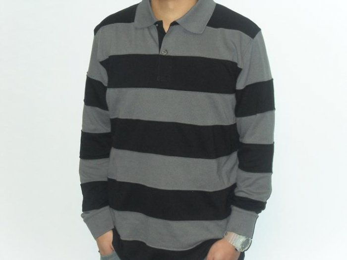 Remixed - LS Polo - CharcoalGrey/Black Striped