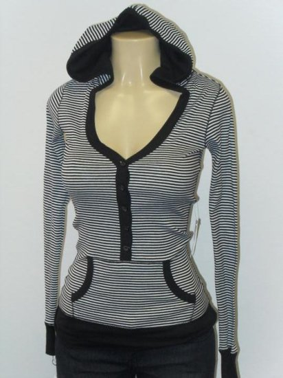 Active Basic - Cardigan/Hood - Black/White