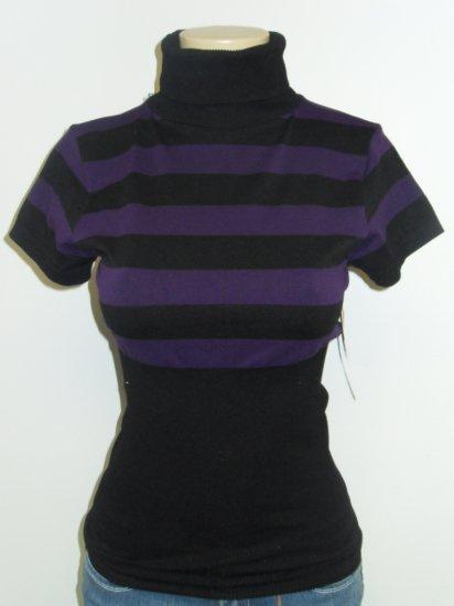 Touch Me - S/S Turtle Neck - Black/Purple