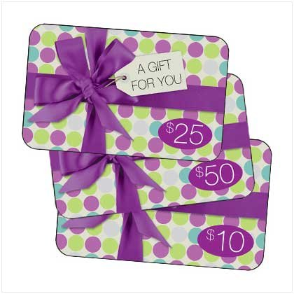 50 dollar gift card and World of Products catalog