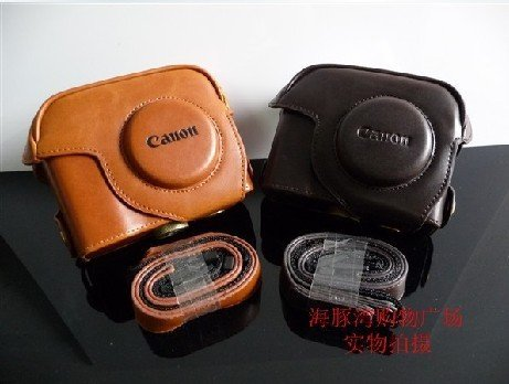 Canon PowerShot G12 G11 leather case bag in brown or black (dark coffee)