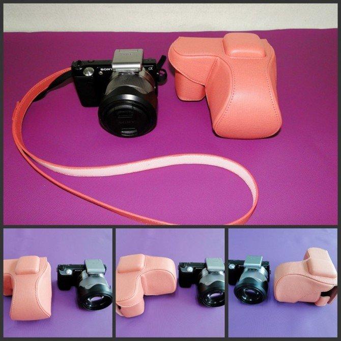 leather case bag- Sony NEX5 NEX-5 NEX5KB camera 18-55mm lens w/ flash, pink, black, white or brown