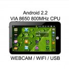 "7"" ePad Android 2.2 VIA 8650 800MHz Tablet PC WiFi Cam"