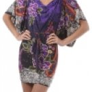 Multi Purple Kimono Sleeve Dress Large