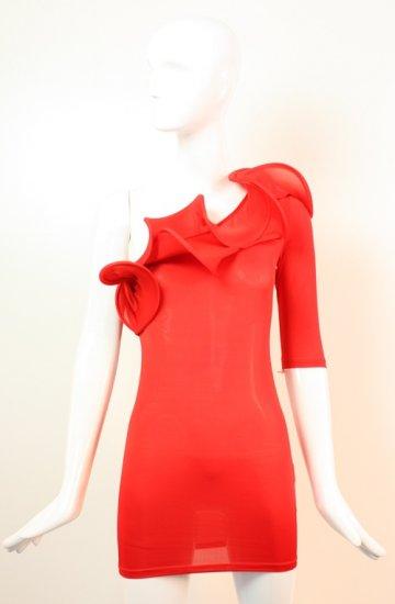 Sexy One Sleeve Ruffle Dress Small