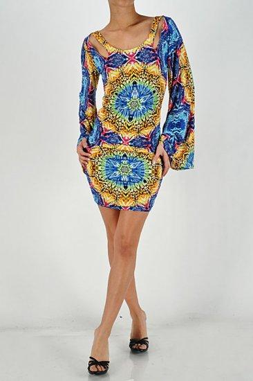 Blue Multi Print Clubbing Mini Dress Small