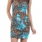 Aqua and Leopard Print Party Dress Small