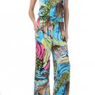 Aqua and Hot Pink Multi Jumpsuit Medium