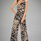 One Shoulder Leopard Jumpsuit