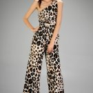 One Shoulder Leopard Jumpsuit