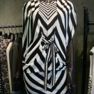 Black and White Stripe Kimono Sleeve Dress
