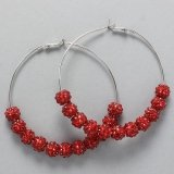 Red Rhinestone Hoops