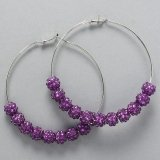 Purple Rhinestone Hoops