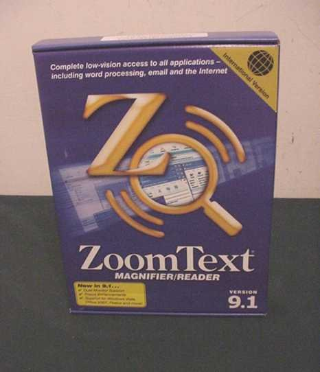 NEW AI SQUARED ZoomText MAGNIFIER and READER Version 9.1 INTERNATIONAL VERSION - FACTORY SEALED!