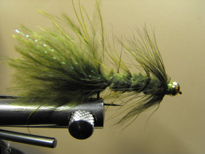 Woolly Bugger, Olive - Brass Bead Head