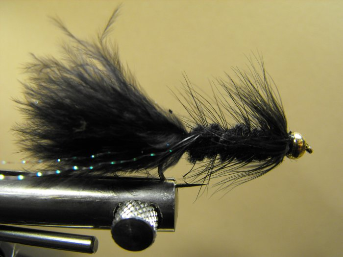 Woolly Bugger, Black - Brass Bead Head