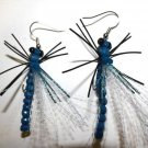 1 Pair - Blue Dragonfly Earrings - Trout Fly