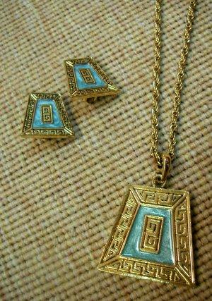 Cleopatra Blue&Gold Vintage Necklace