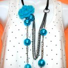 Ariel Blue Flower n Pearls Necklace