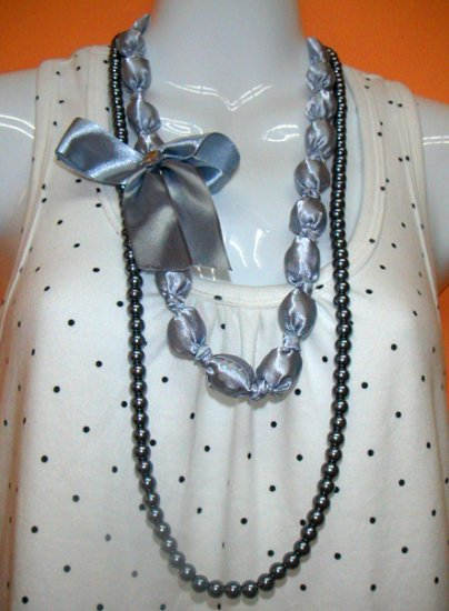 Roxette Dark Grey 2-layer Necklace