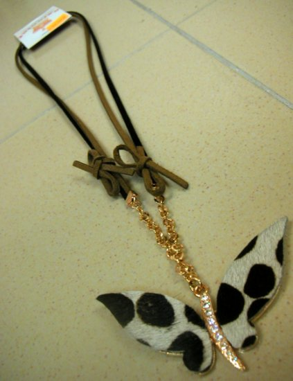 Butterfly Gold Necklace w Fur