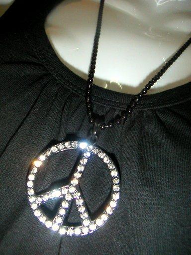 Peace w Diamonds Black Necklace