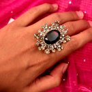 Crystal Black w Diamonds Ring
