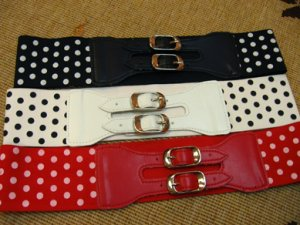 Stretched Polka Dotted Belt w 2 Buckles