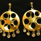 Gold Round w Holes Earrings