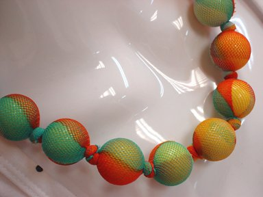 Orange/Turquoise Bead Wrap Necklace