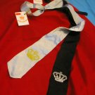 Crown Embroided Lazy Ties (Black and Silver)