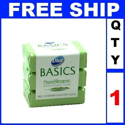 NEW 1 Pack DIAL BASICS HypoAllergenic Soap allergy safe (3 Soaps/Lot)